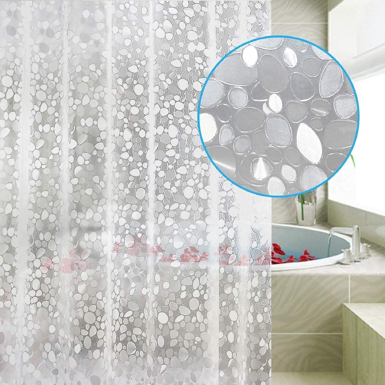 QINGXI Duschvorh/änge EVA Wasserdicht Badezimmer Vorhang Liner Heavy Duty Duschvorhang schimmelresistent Badvorh/änge mit 12 Haken und Duschvorhangstange 180 x 180 cm 150 x 180 cm A