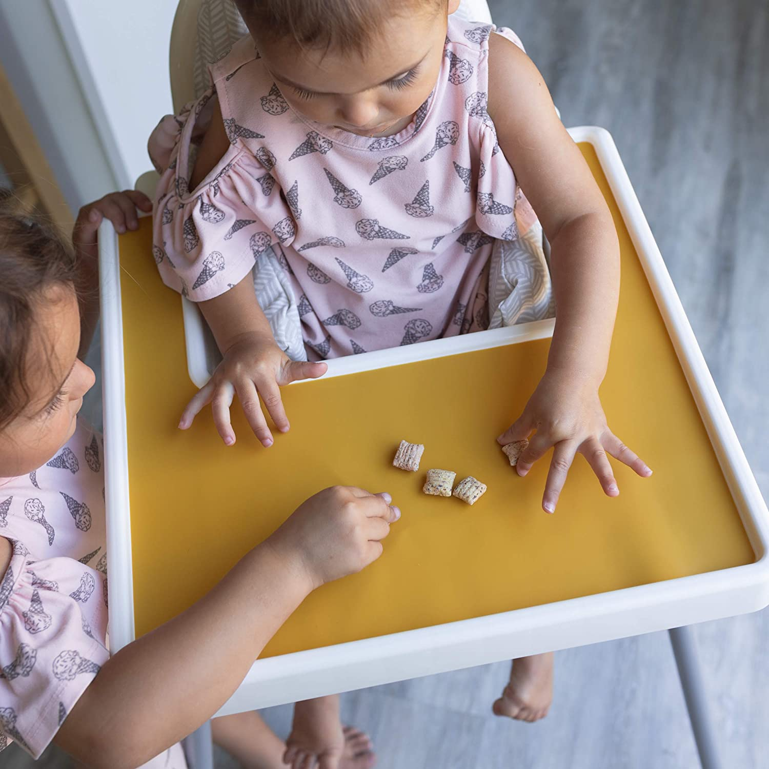Finger Foods Placemat for Toddler and Baby IKEA High Chair Placemat for Antilop Baby High Chair Dishwasher Safe Silicone Placemats BPA Free Mango Co Charcoal Gray