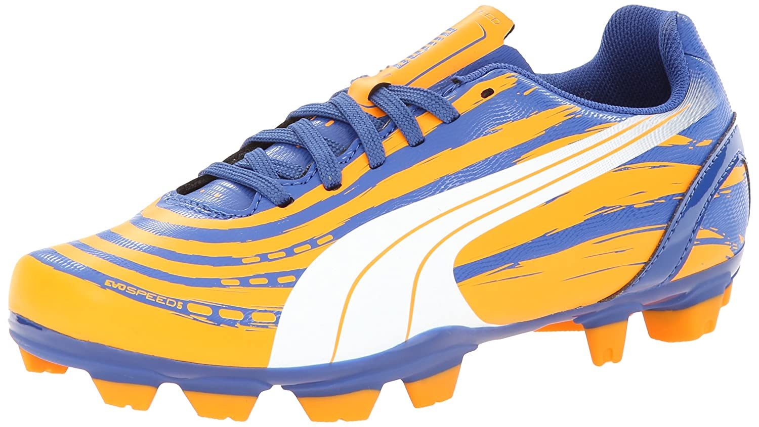 PUMA Evospeed 5.2 Graphic Firm Ground JR Soccer Schuhe (Little Kid Big Kid),Monaco Blau Sulphur Springs Bright Marigold,4.5 M US Big Kid