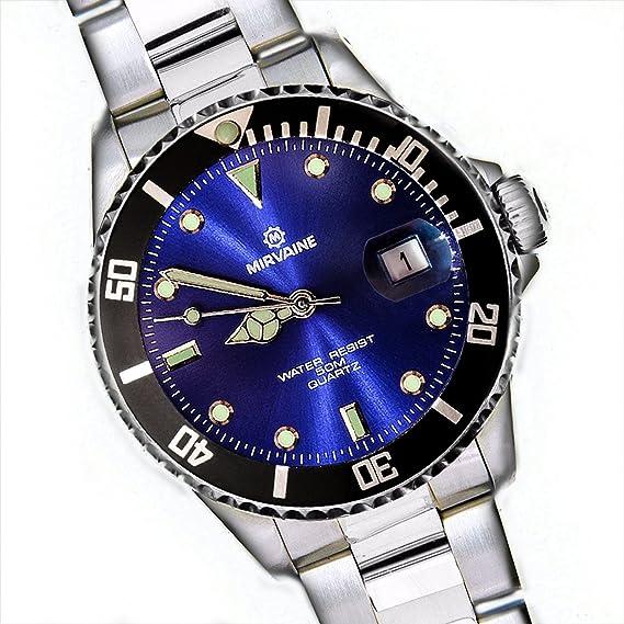 Mirvaine Divers Reloj analógico con esfera azul de cuarzo para mujer unisex reloj  de regalo  137b94af6e82
