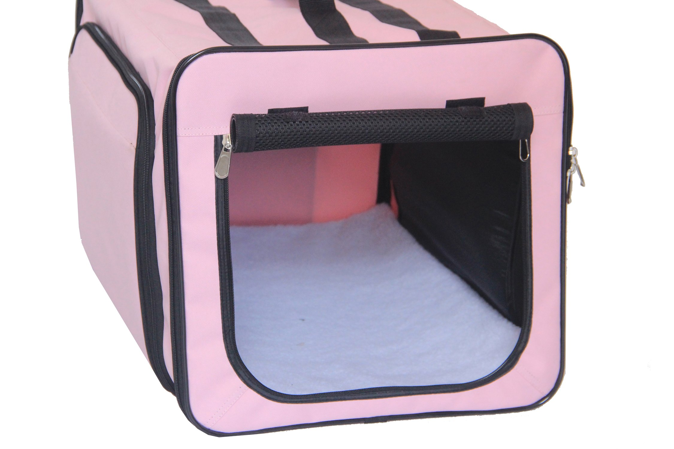 Pet Life Capacious' Dual-Sided Expandable Spacious Wire Folding Collapsible Lightweight Pet Dog Crate Carrier House, Large, Pink by Pet Life (Image #4)