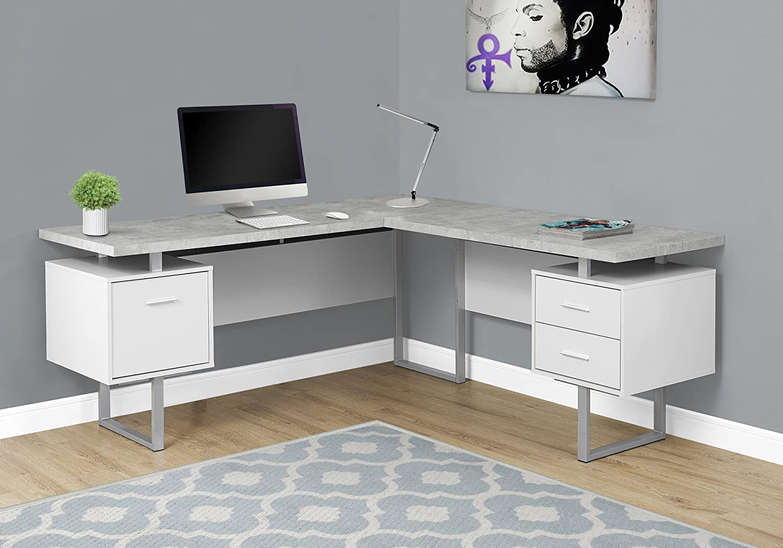 Monarch Specialties Computer Desk 70 L White Cement Look Left Right Face Amazon Ca Home Kitchen