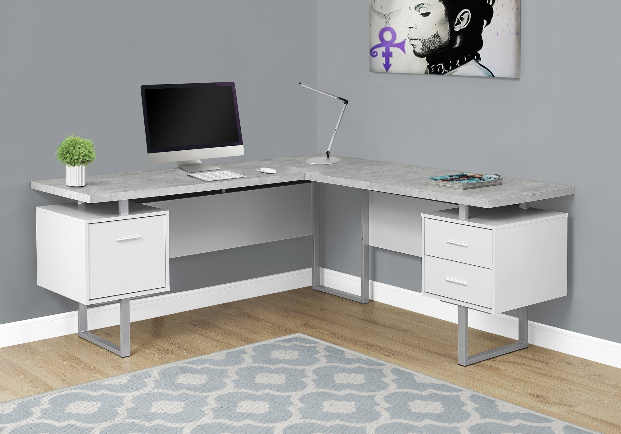 Monarch Specialties I 7307 Computer Desk Left or Right Facing White / Cement-Look 70''L
