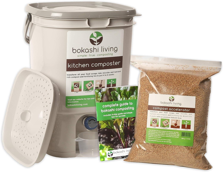 Includes 2 Bokashi Bins, 3.5lbs of Bokashi Bran and Full Instructions Bokashi Composting Starter Kit