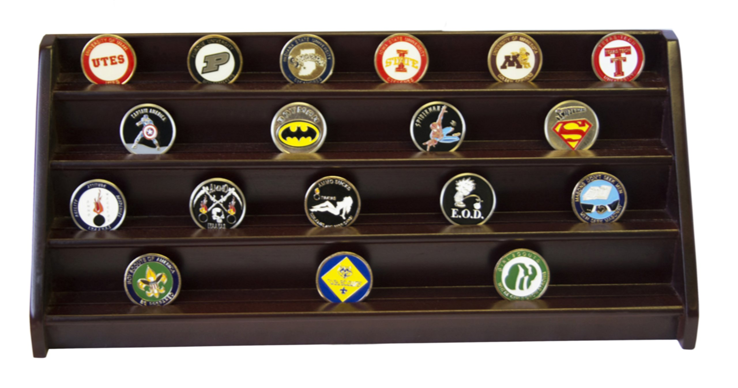 DECOMIL - 4 Rows Shelf Challenge Coin Holder Display Casino Chips Holder Cherry Finish