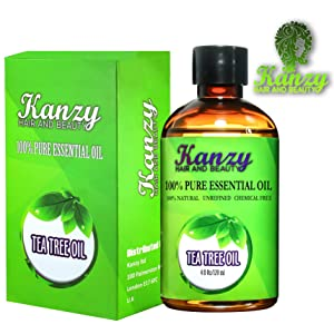 KANZY Tea Tree Essential Oil 100% Pure use with shampoo and soap - for face & Body Wash - Treatment for Acne, Lice and Many Skin Conditions - 120ml