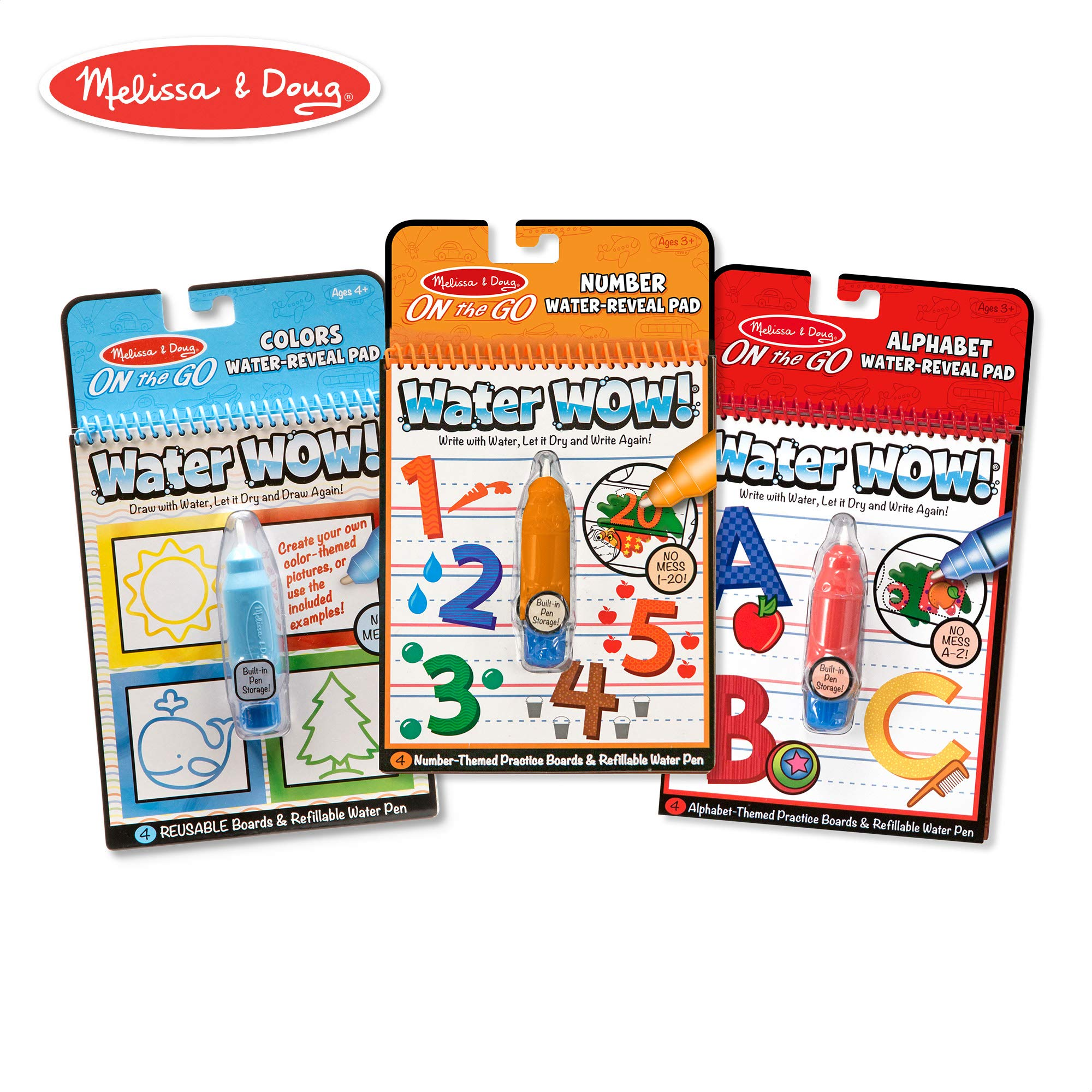 Melissa & Doug On the Go Water Wow! Reusable Water-Reveal Activity Pads,3-pk, Colors, Numbers, Alphabet by Melissa & Doug