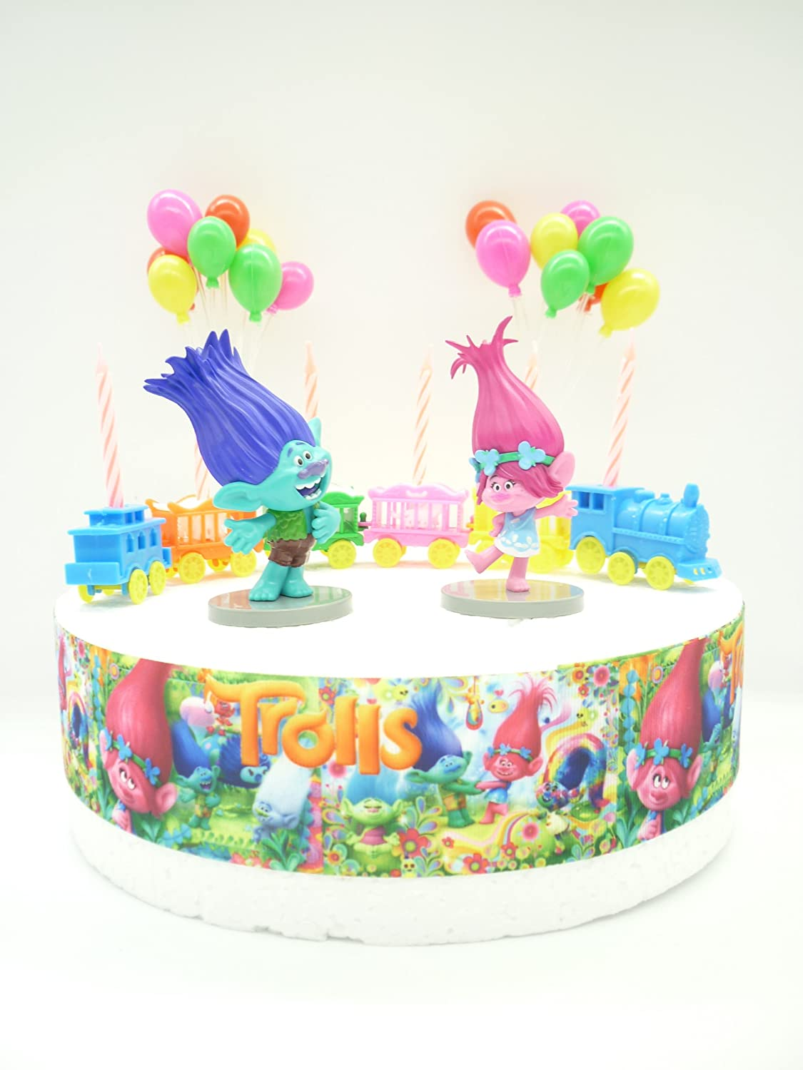 OSK Trolls POPPY & BRANCH Birthday Cake Decoration Set: Amazon.co.uk ...