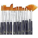 Paint Brushes, Laniakea® 12pcs Paint Brush Set for Watercolor/Oil/Acrylic/Crafts/Rock & Face Painting(Black)