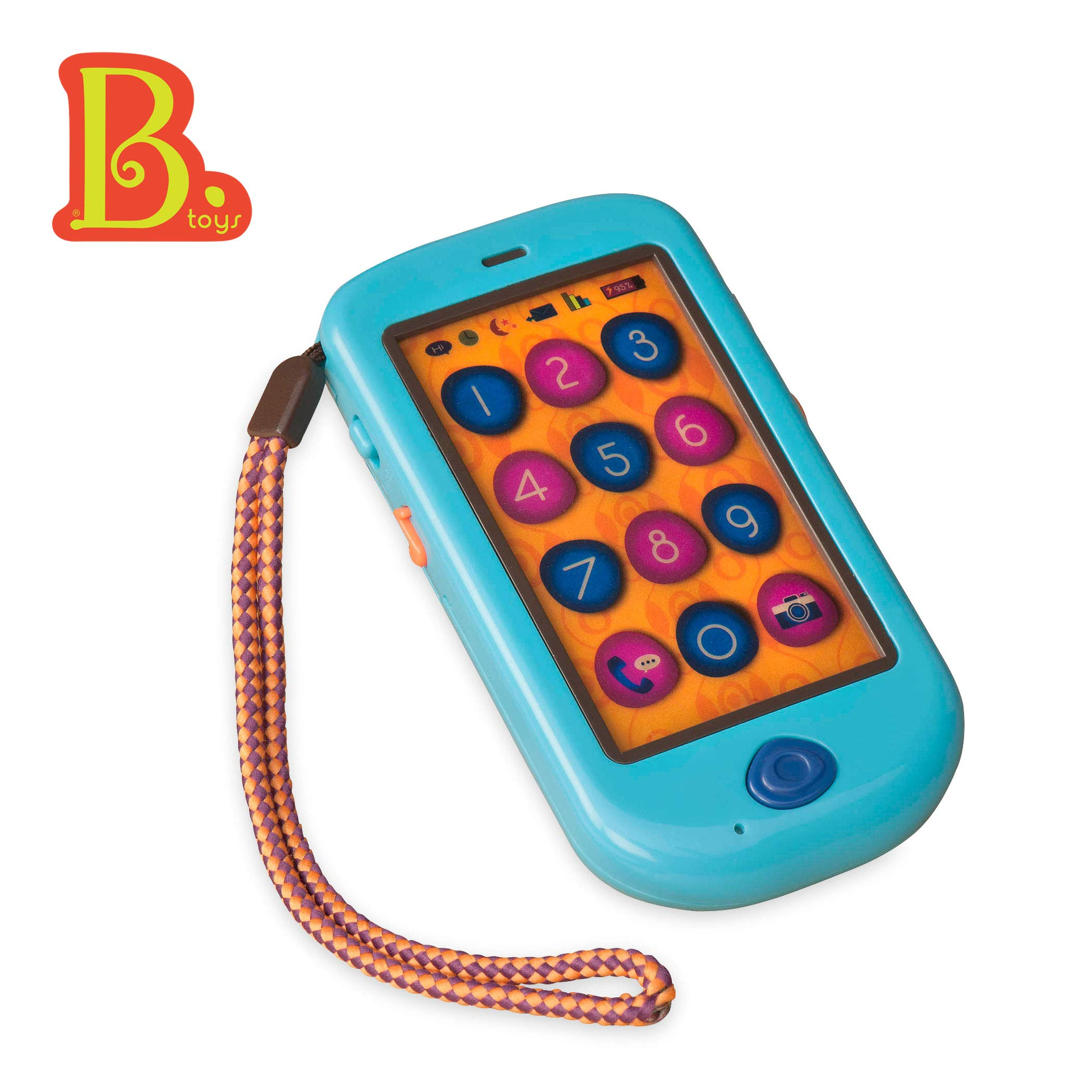B. Toys - HiPhone Toy Smart Phone - Kids Play Phone with Sounds Music & Voice Messages - Toddler Toy Phone with Message Recorder - 100% Non-Toxic & BPA-free by B. toys by Battat