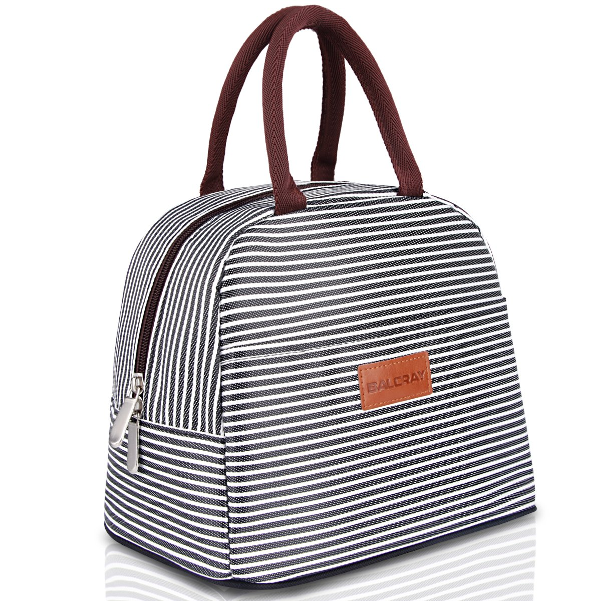 BALORAY Lunch Bag Tote Bag Lunch Organizer Lunch Holder Lunch Container (Brown White Stripes) by BALORAY