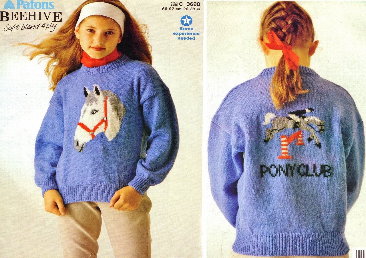 A Magnificent PONY CLUB PICTURE SWEATER Patons 4ply Knitting
