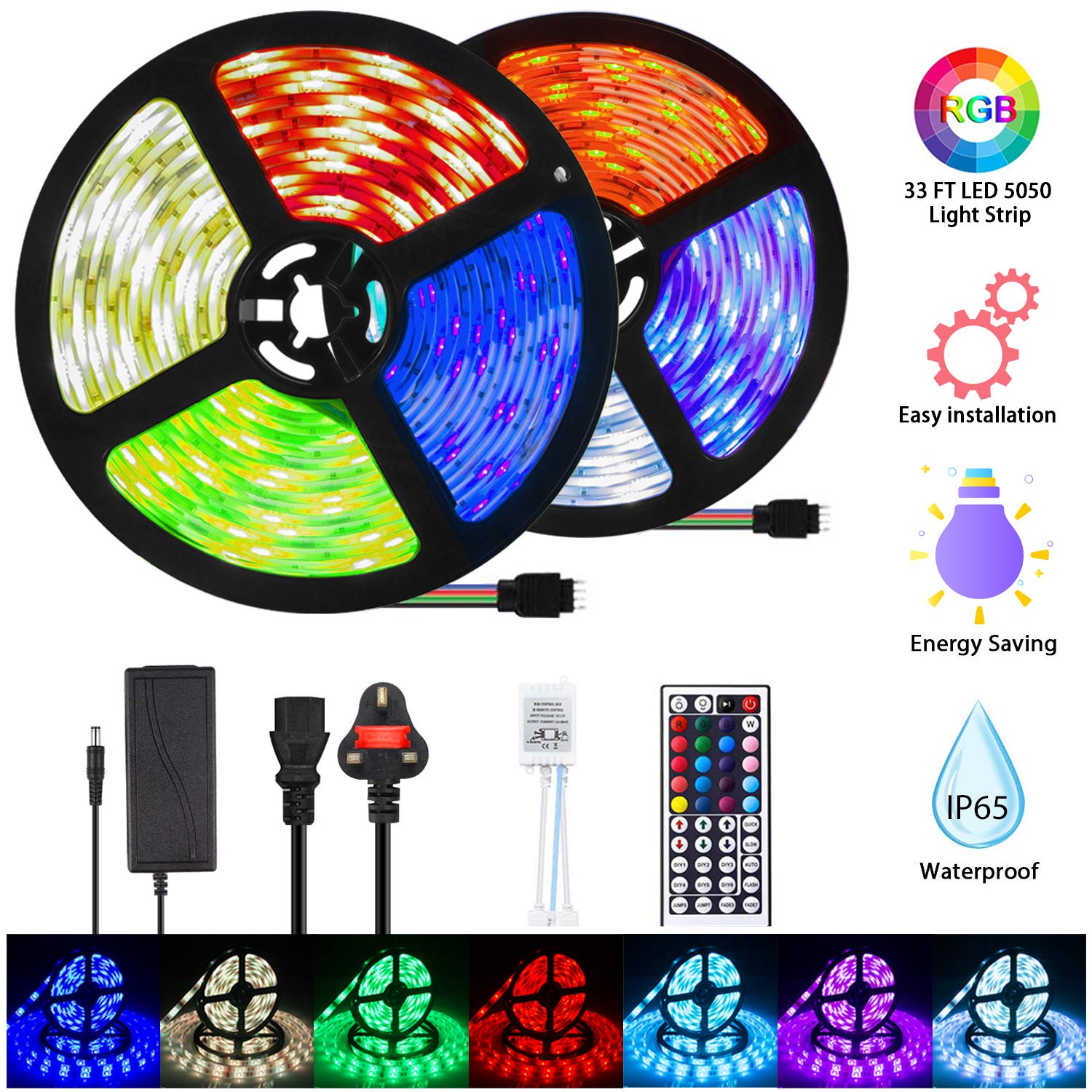 Mowetoo LED Strips Lights, 10M 300LEDs 5050 Color Changing RGB SMD with 44-Keys Remote Control, IP65 Waterproof 12V Power Decoration for Kitchen Wedding Party Garden House