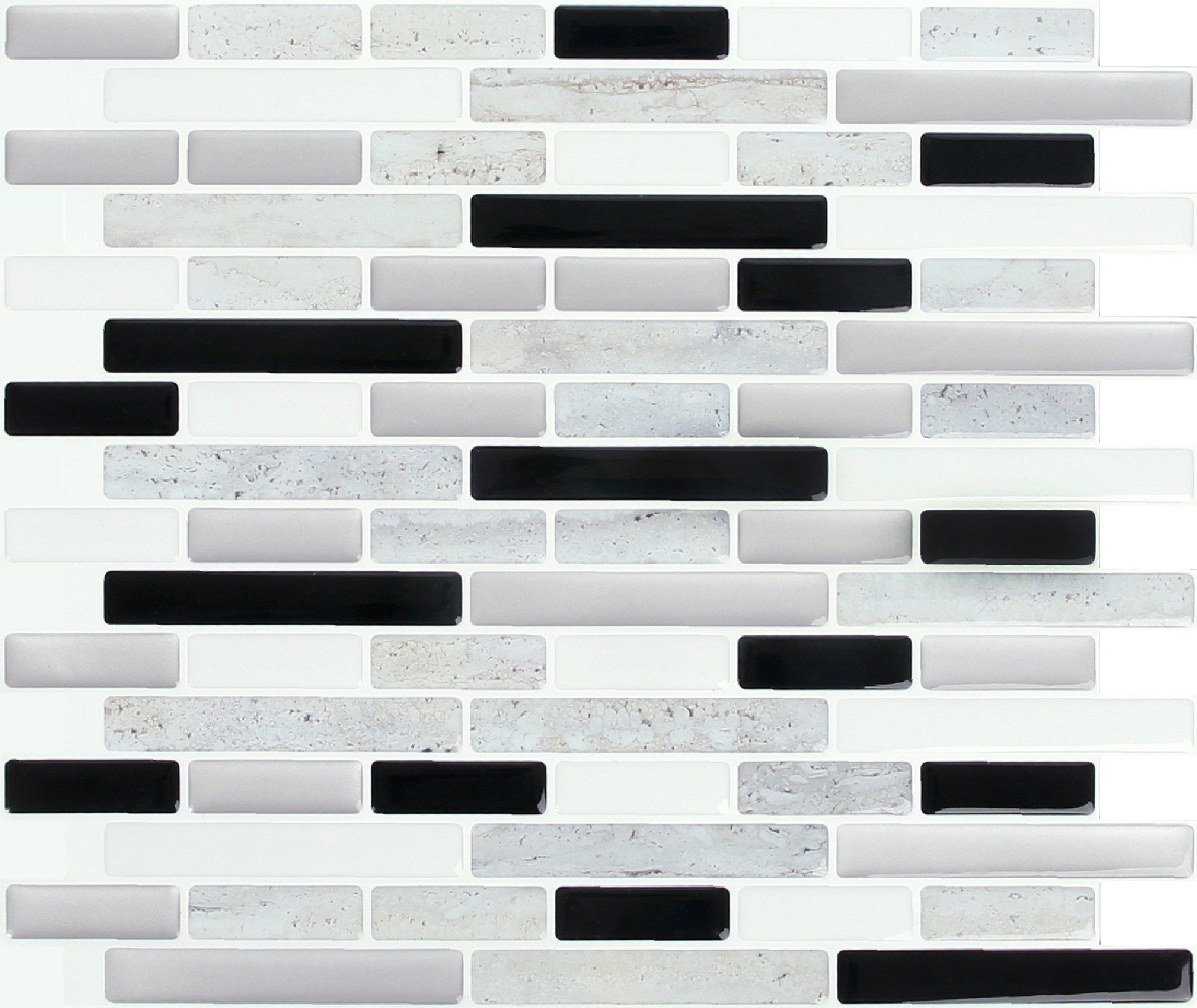 Peel and Impress - Easy DIY Peel and Stick Adhesive Backsplash Tiles, 24048B Space Grey Marble, Oblong, 11'' x 9.25'' (40 Tiles)