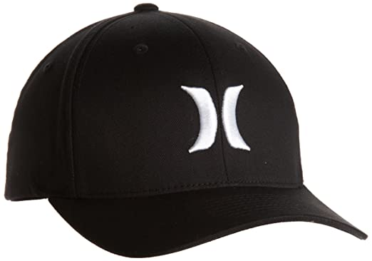san francisco b46c6 932d6 Hurley Men s One And Only Black Flexfit Hat, White, Small Medium