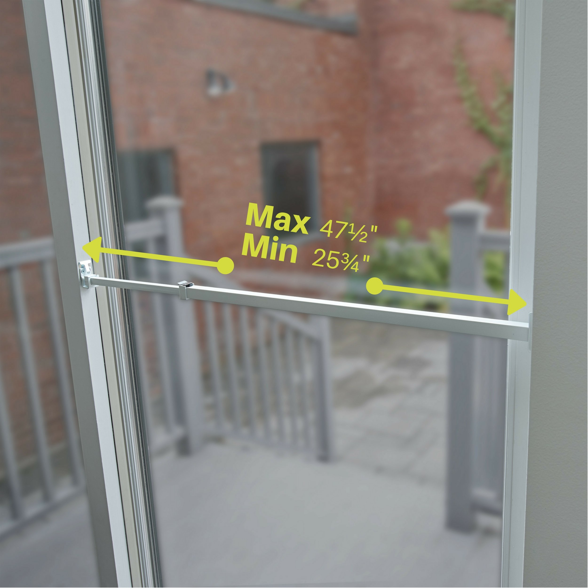 Ideal Security SK110 Patio Door Security Bar with Child-Proof Lock, Adjustable 25-48 inches for Ventilation, White by Ideal Security Inc. (Image #5)