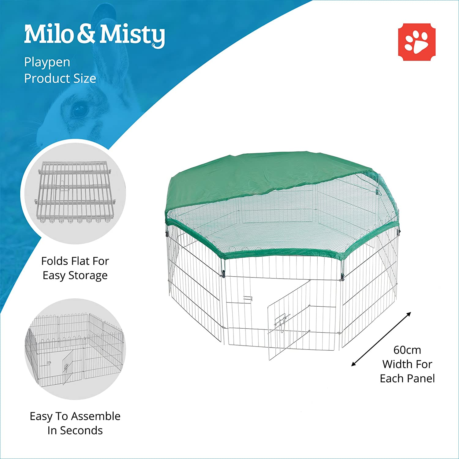 Milo Misty Playpen For Pets Folding And Portable Outdoor Cage Esb Oasis Wiring Diagram Dog Puppy Rabbit Guinea Pig 60 X 8 Steel Panel With Safety Sun Protection Net