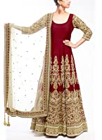 Gstuffvilla Women's Banglori Silk Salwar Suit (Gsv5017_Maroon_Free Size, Semi-Stitched )