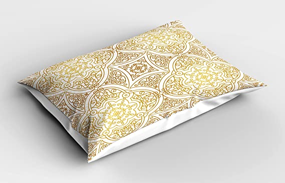 36 X 20 Inches Gold Mandala Pillow Sham by Lunarable Victorian Mandala Motifs Curled Classical Ethnic Oriental Tile Outline Gold Yellow White Decorative Standard King Size Printed Pillowcase