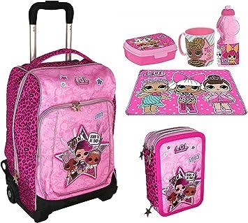 LOL Surprise - Juego de 6 mochilas con ruedas para la escuela + estuche con 3 cremalleras + set de desayuno: Amazon.es: Equipaje