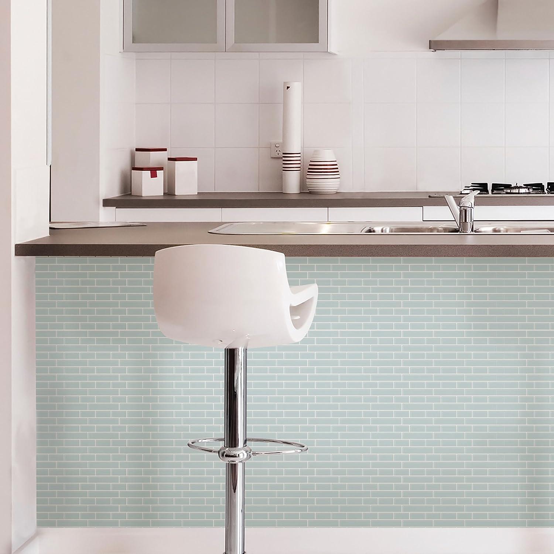 In Home NH2361 Sea Glass Peel & Stick Backsplash Tiles, Blue ...