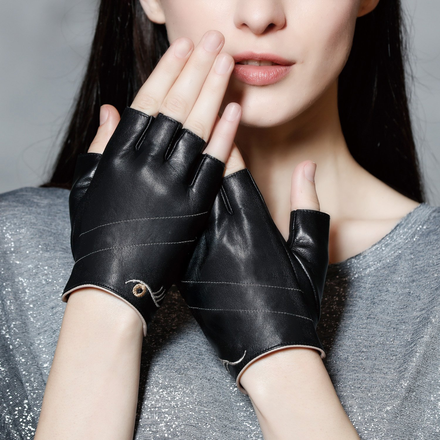 Fioretto Womens Sexy Fingerless Leather Gloves Half Finger Driving Motorcycle Cycling Unlined Ladies Leather Gloves Women's Gift Black M by Fioretto (Image #2)