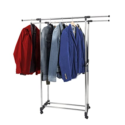 Harima - Perchero doble portátil de metal, ligero y ajustable, para organizar ropa, perchero con ruedas, con estante inferior para zapatos, 1,52 m.