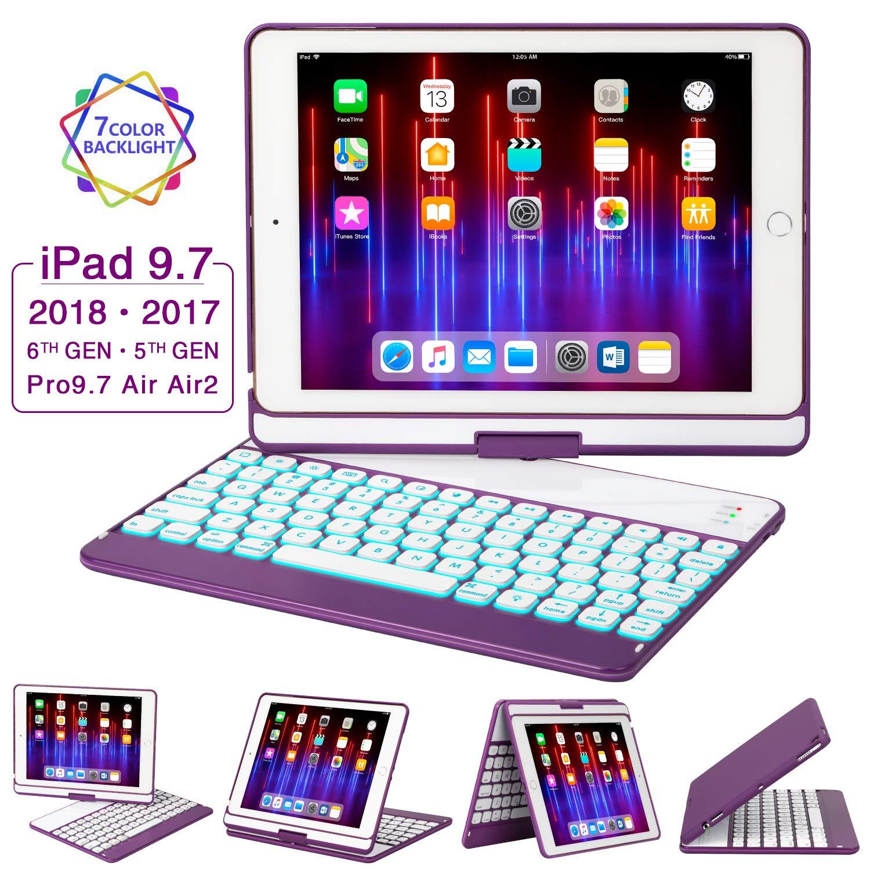 専門店では iPad キーボードケース 9.7 iPad 2018(第6世代) iPad - Pro 2017(第5世代) iPadケース - iPad Pro 9.7 - Air 2 & 1 360度回転 7色バックライト ワイヤレス/BT iPadケース キーボード付き 自動スリープ解除 9.7インチ パープル B07PVF3VGQ, 大網白里町:44a083ea --- a0267596.xsph.ru