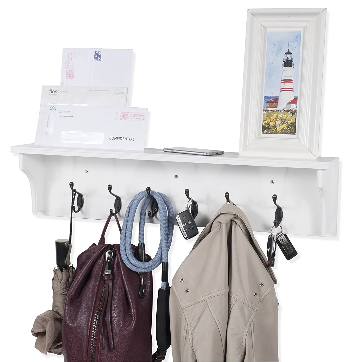 Solid Wood Entryway Organization Wall Mountable 30 Inch Coat Rack with 6 Hooks Walnut (White) Brightmaison