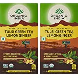 Organic India Lemon Ginger Tulsi Green Tea, 25 Tea Bags - Pack of 2