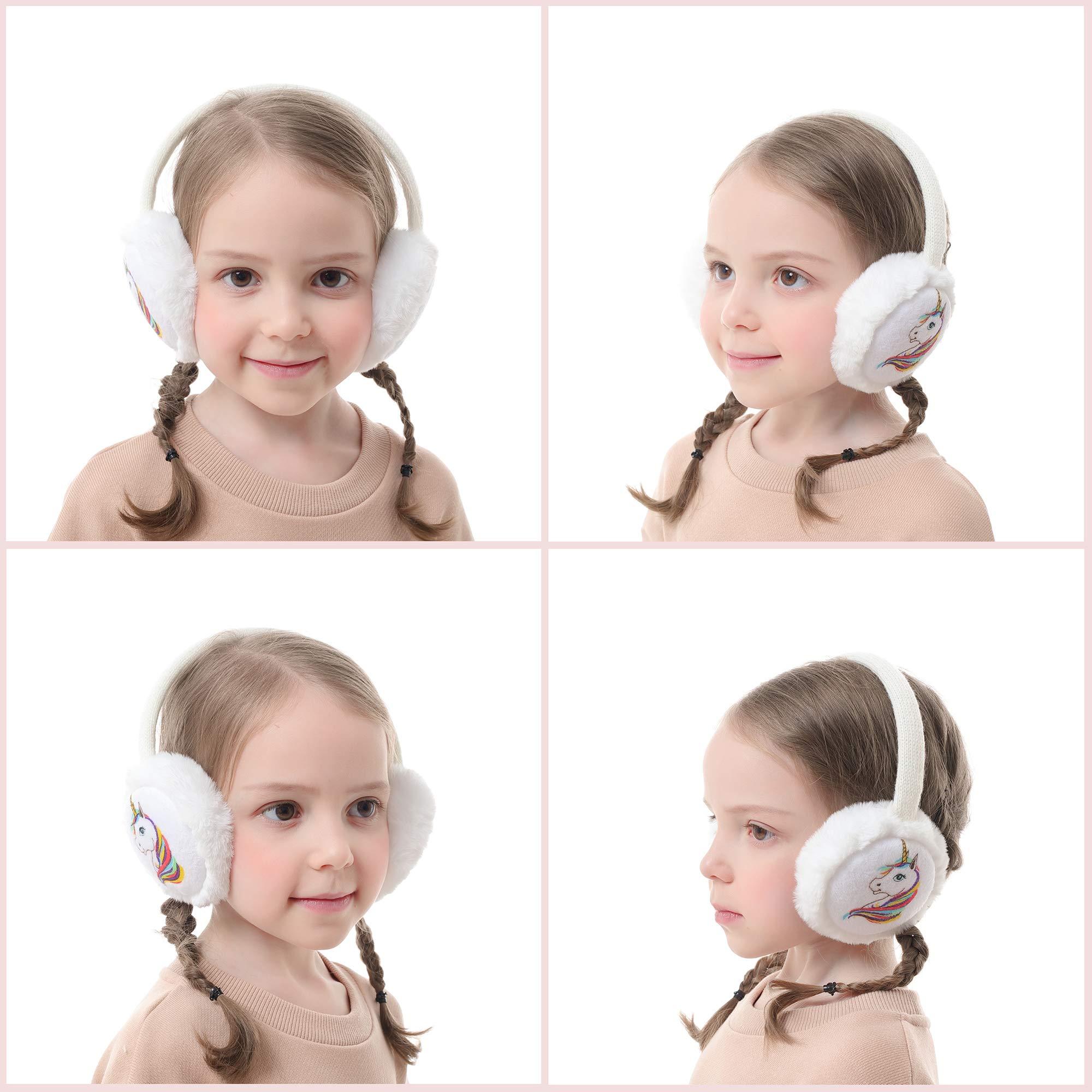Flammi Kids Girls Winter Unicorn Earmuffs Scarf Neck Warmer Set Warm Plush Ear Warmers 3-12 Years