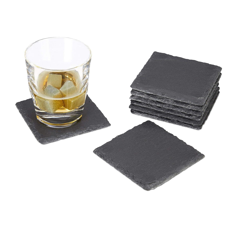 Sottovaso Manutenzione Grigio Relaxdays Bevande Sottobicchiere Ardesia 8er Set per Bicchieri Quadrato 10/x 10/cm