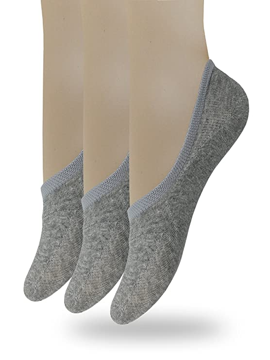 Eedor Women's 3 Pack Thin No Show Socks Non Slip Flat Boat Line Gray best no-show socks