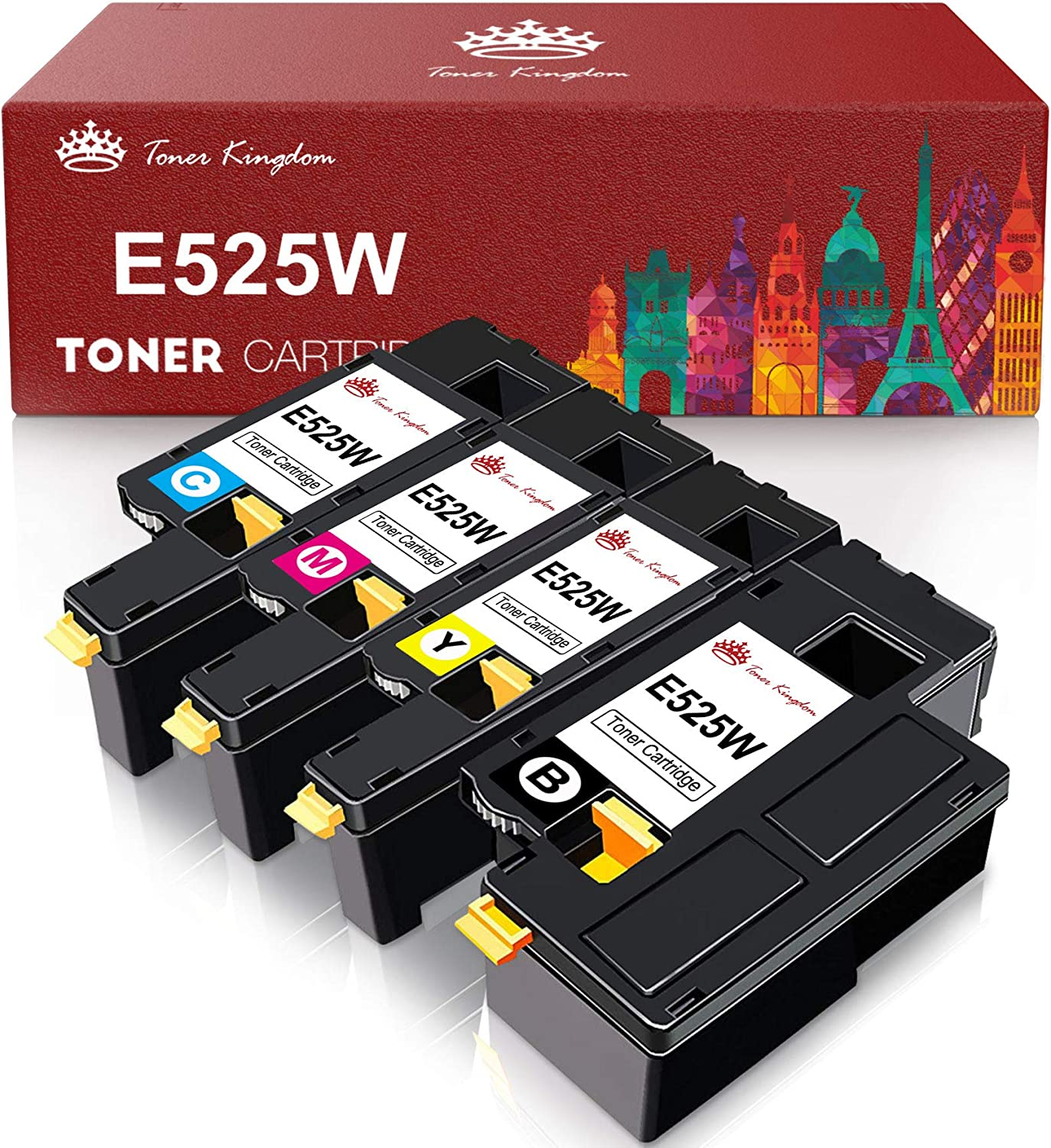 Toner Kingdom Compatible Toner Cartridge Replacement for Dell E525W E525 525w to use with E525w Wireless Color Printer for 593-BBJX 593-BBJU 593-BBJV 593-BBJW (Black, Cyan, Magenta, Yellow, 4-Pack)