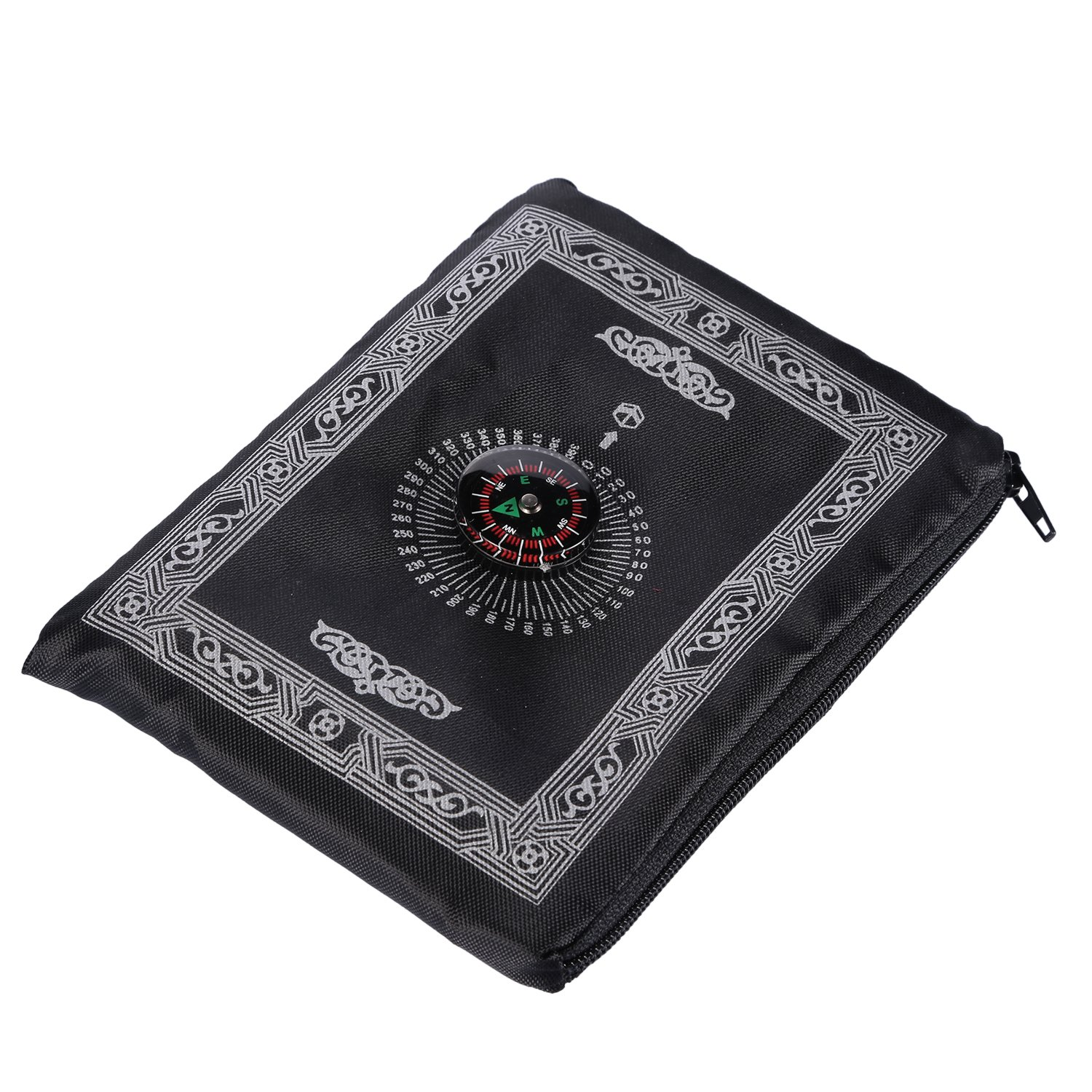 Hitopin Portable Black Color Muslim Prayer Rug with Compass Pocket Size Prayer Mat ompass Qibla finder with Booklet Waterproof Material HP-PMBk COMIN18JU042246