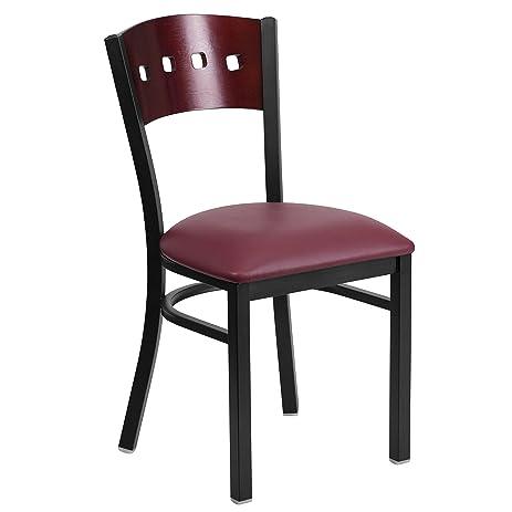 Exceptional Flash Furniture HERCULES Series Black 4 Square Back Metal Restaurant Chair    Mahogany Wood Back,