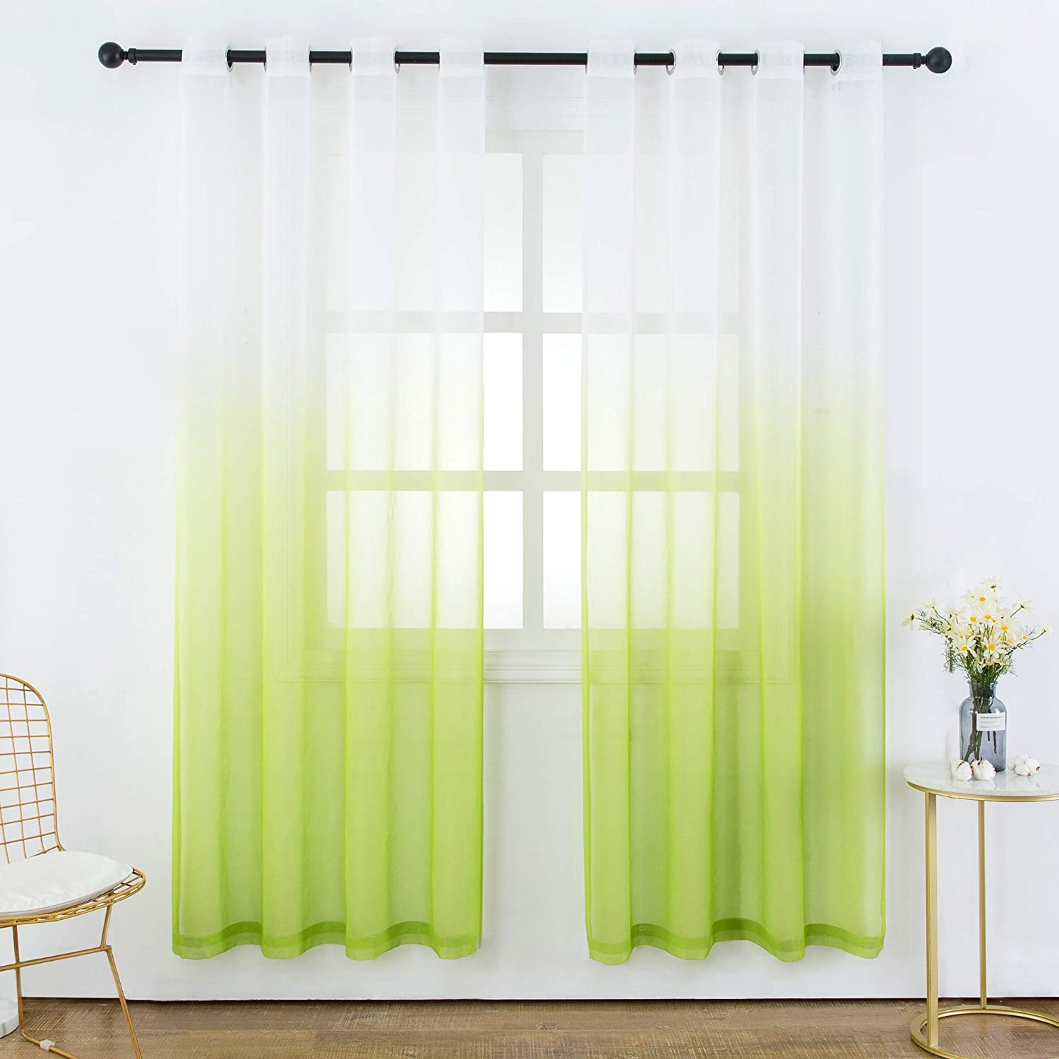 Bermino Faux Linen Sheer Curtains Voile Grommet Ombre Semi Sheer Curtains for Bedroom Living Room Set of 2 Curtain Panels 54 x 95 inch Grass Green Gradient