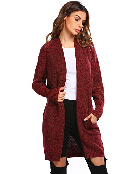 Sholdnut Women's Oversized Chunky Open Front Knit Maxi Cardigan ...