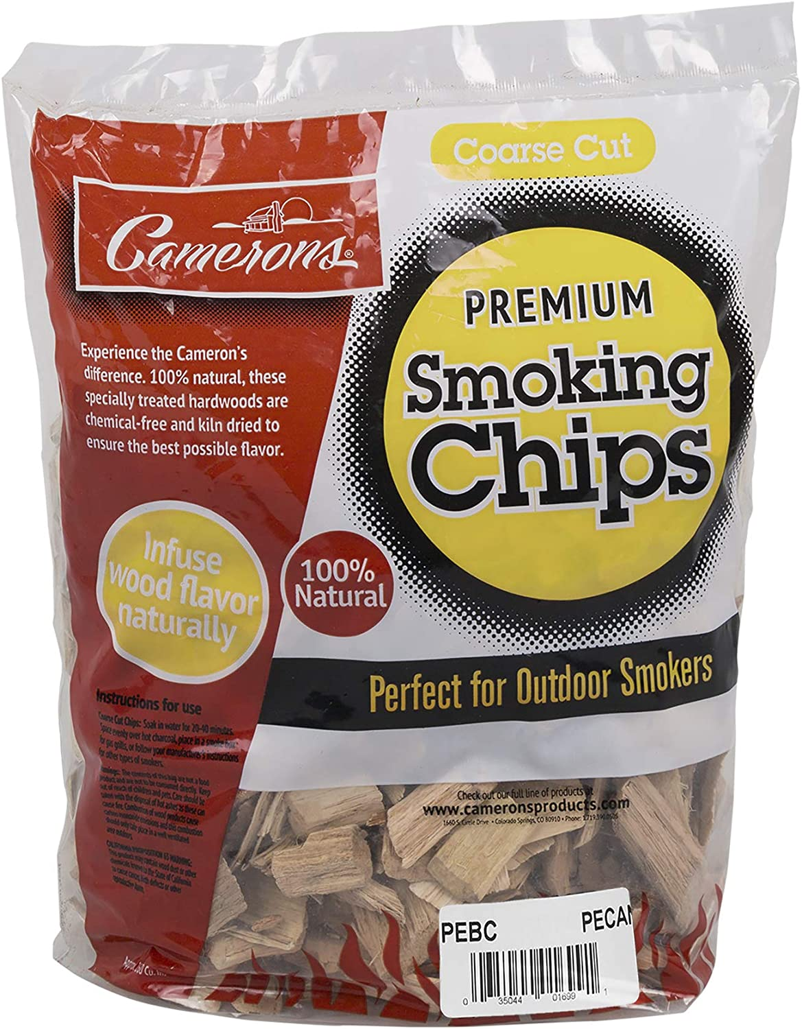 Camerons Smoking Wood Chips (Pecan) - 2lb Bag Coarse Kiln Dried BBQ Chips- 100% All Natural Barbecue Smoker Shavings- 260 cu. in. (0.004m³)