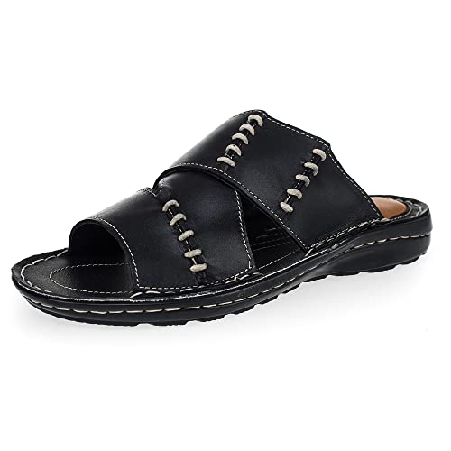 7a433f5428e KS - 168 - Sandalias para Hombre - Ideales para Verano - Cuero - Negro   Amazon.es  Zapatos y complementos