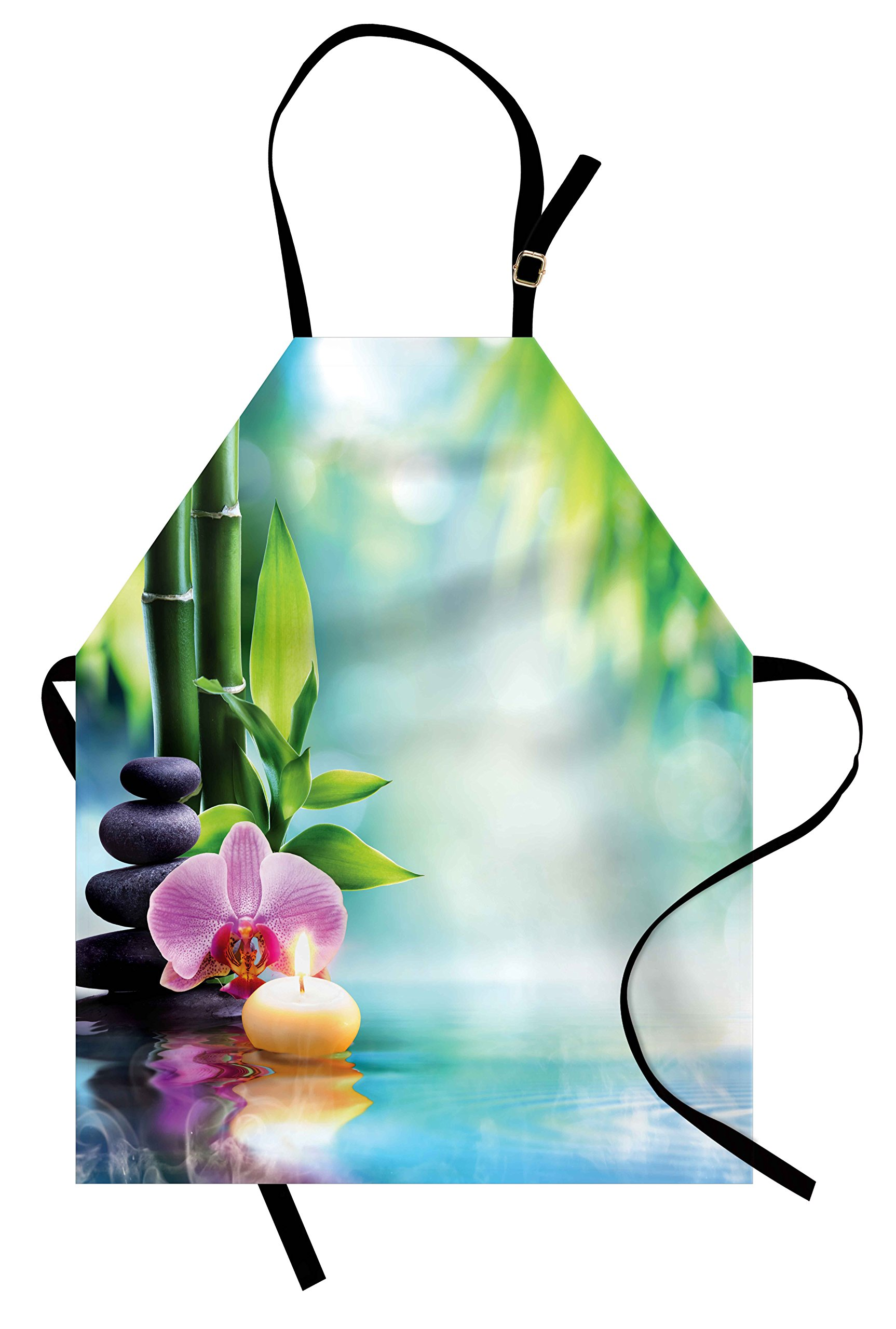 Ambesonne Spa Apron, Symbolic Spa Features with Candle and Bamboos Tranquil and Thoughtful Life Nature Print, Unisex Kitchen Bib Apron with Adjustable Neck for Cooking Baking Gardening, Multicolor