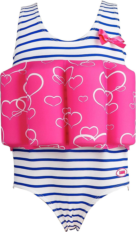 Hugci Lemandii Floating Swimsuit for Toddler Kids Girls with Adjustable Buoyancy Triangle Side