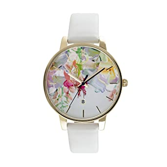 a9439ee3de009 Ted Baker Womens Floral Dial White Leather Strap TE10030652  Amazon.co.uk   Watches