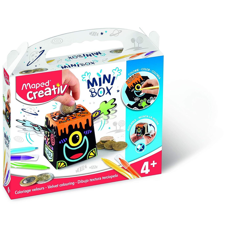 MAPED Creativ - Tirelire Coloriage Velours et construction - Kit Loisirs Créatifs Enfants