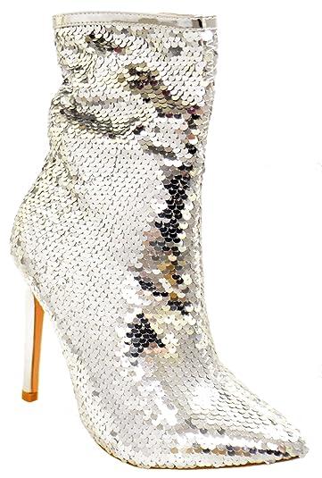ac7eb7f8eb3 Belle Marie Manafaru Womens Pointy Toe Stiletto Sequin Booties Silver 5.5