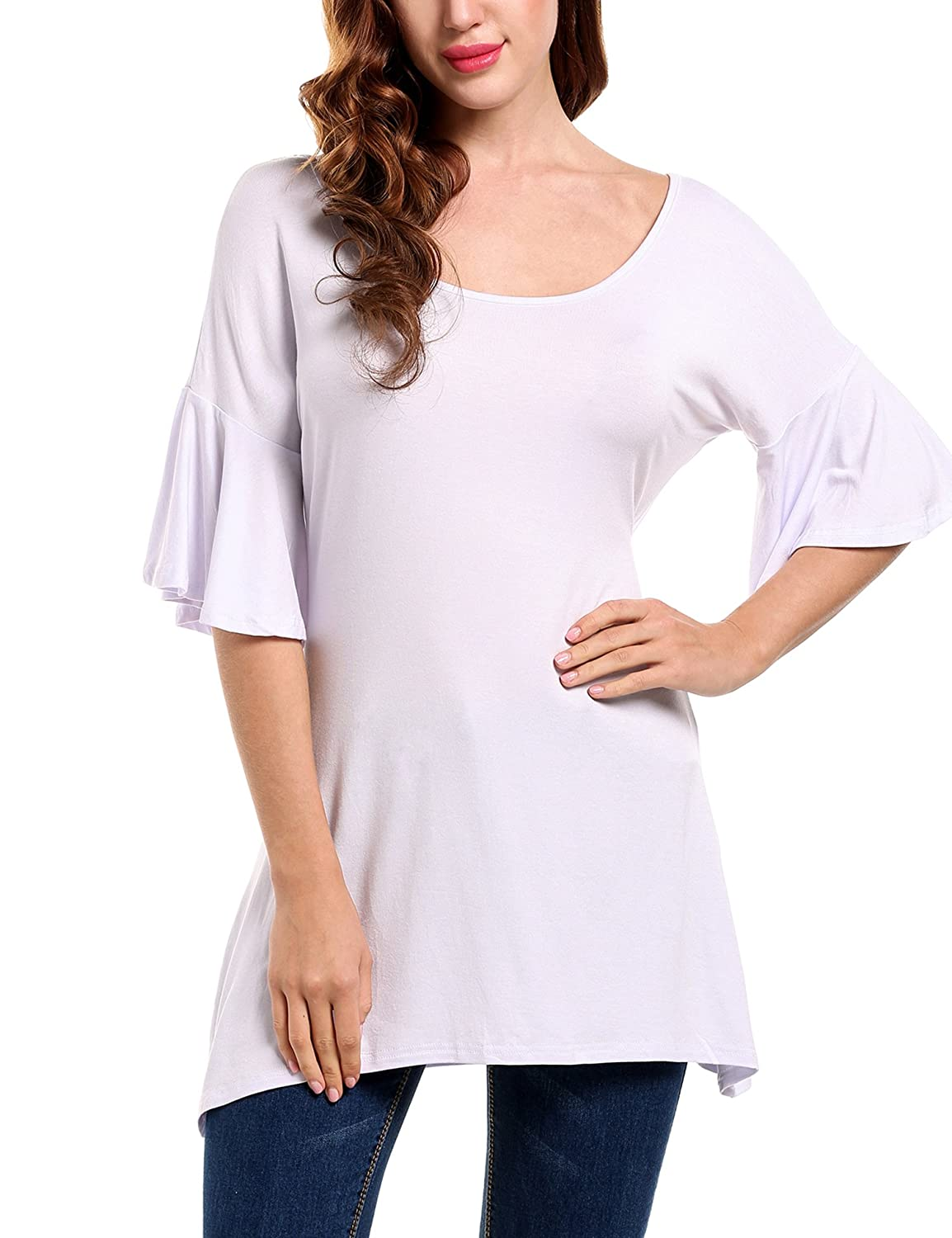 Meaneor Women's Casual 3/4 Flared Sleeve Scoop Neck Solid Loose Fit Tunic Tops #MAH013394