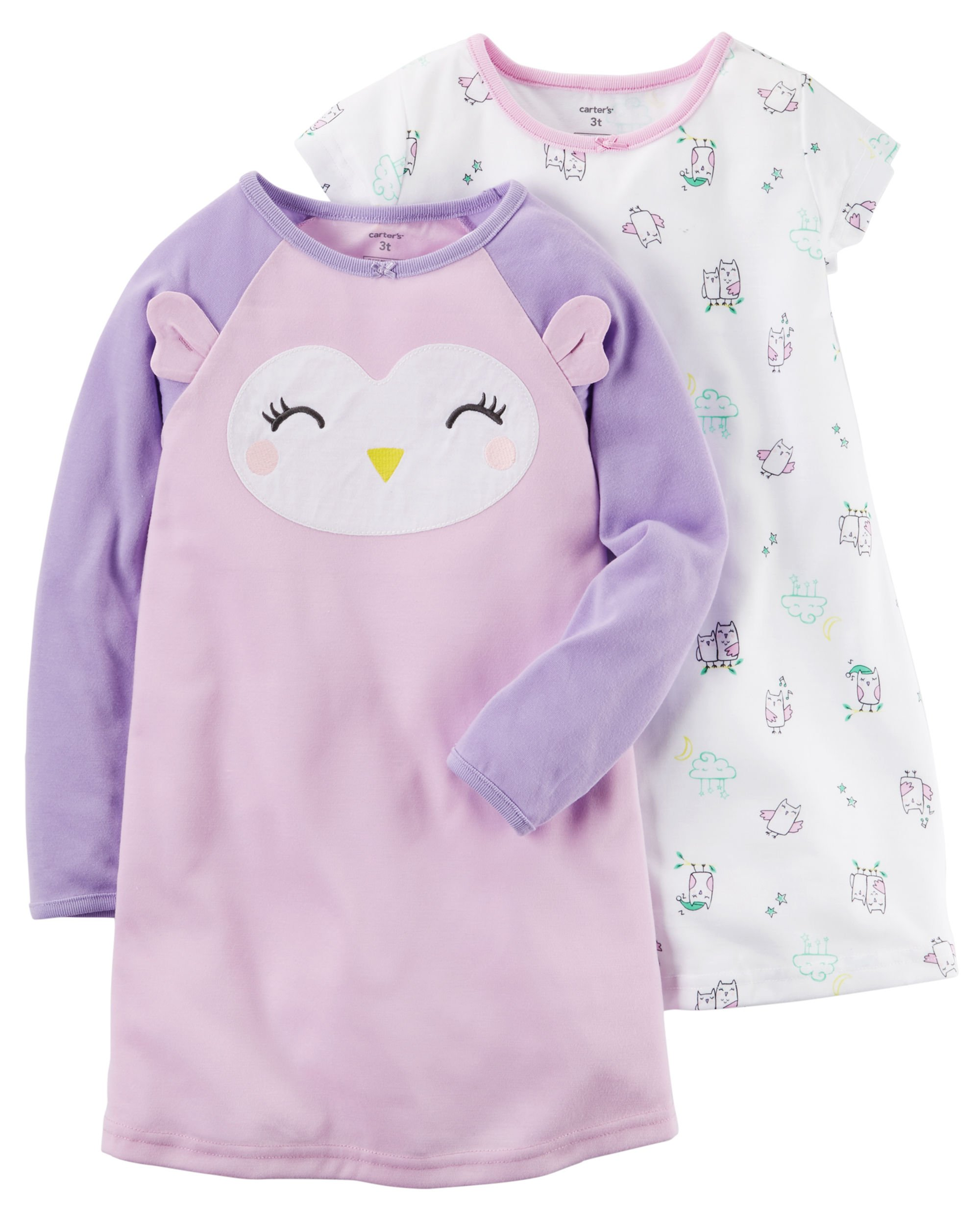 Carter's Purple Girl's 2-Pack Nightgowns, Owl Print (2-3)