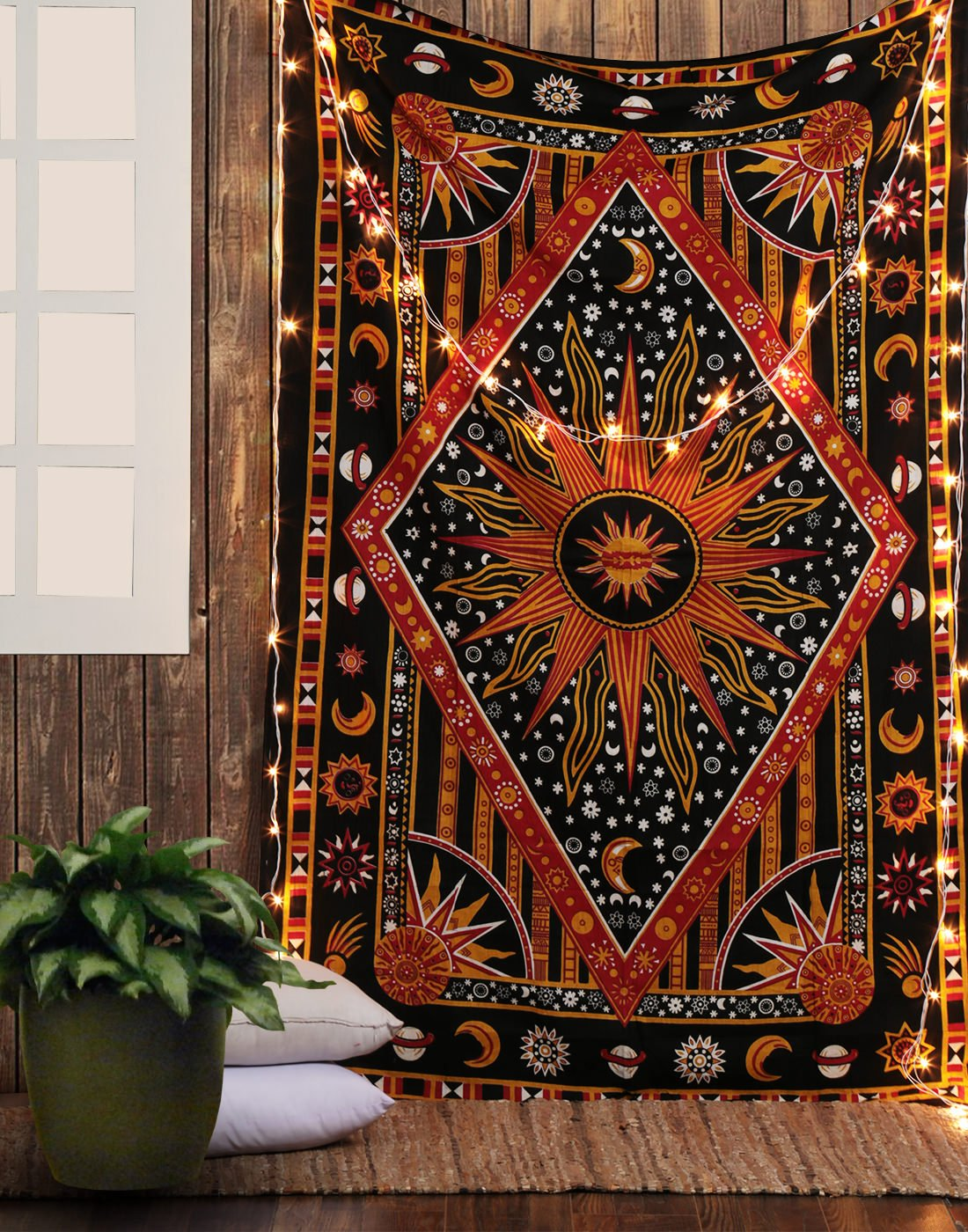 Celestial Sun Moon Stars Planet Tapestry Indian Hippie Wall Hanging Bohemian Bedspread Mandala Cotton Dorm Decor Beach blanket Rajrang WHG08237