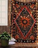 Tenture Murale Indienne Soleil Psychedelic Hippie Drap Mural Mandala Tapisserie Sun Psychédélique Tapestry by Rajrang
