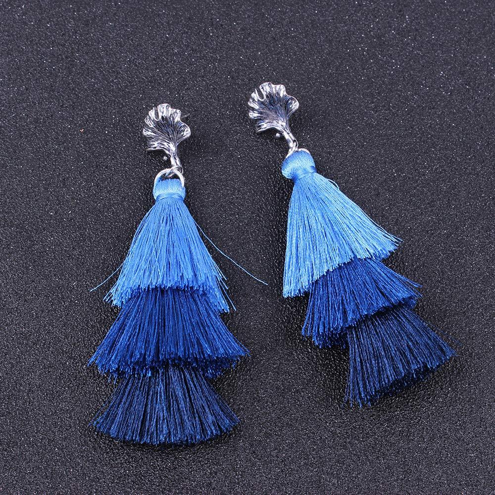 YAZILIND Bohemian Style Multilayer Tassels Pendant Drop Dangle Earrings Jewelry Gift for Girls